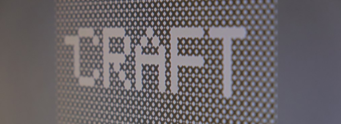 A pixellated word on a screen 'craft'