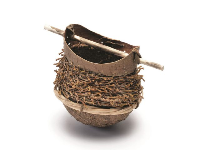 hand woven textured basket made from willow