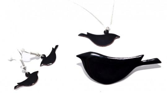 Black enamel bird brooch, necklace and earrings