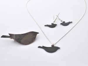 Oxidised metal bird brooch, necklace and earrings