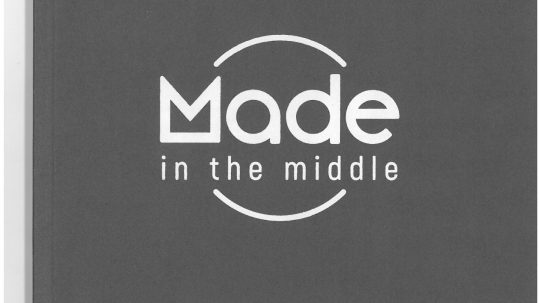 Made in the Middle catalogue cover. Plain grey with a simple white logo.
