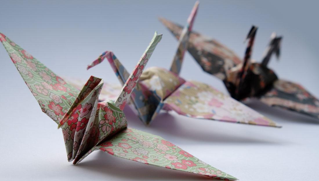 Three pretty origami birds.