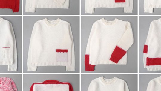A red and white jumper re-knitted into one with 11 variations.