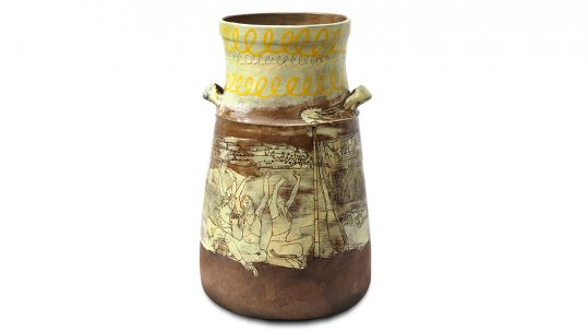 A ceramic vase with line drawings of people and scenes scratched into the glaze.