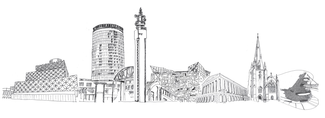 drawings of different famous Birmingham buildings