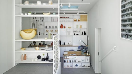 inside flow gallery - craft objects on shelves