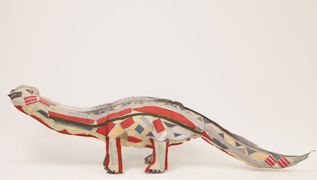 textile dinosaur sculpture