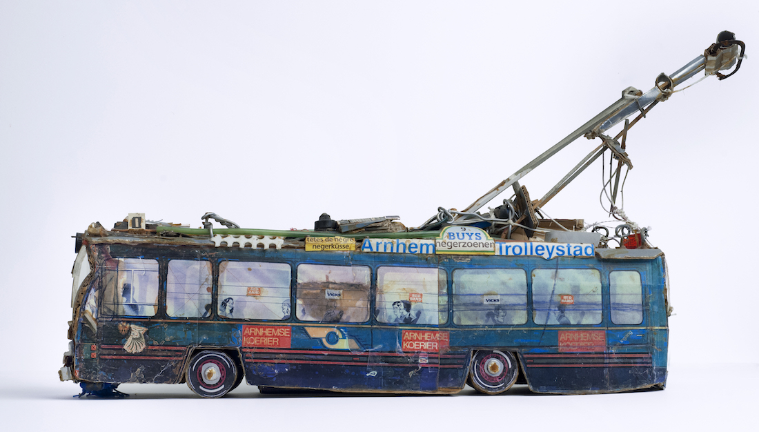 model tram made from recycled materials