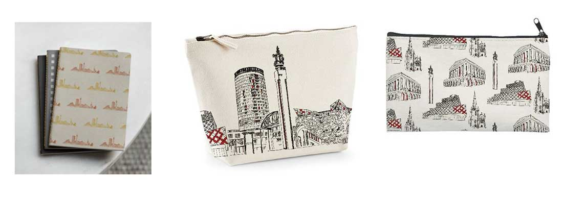 A notebook, washbag and purse decorated with drawings of birmingham architecture.